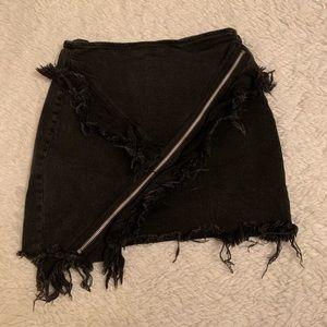 Signature 8 ruffle denim skirt